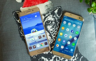 Huawei Mate 9 Pro next to a Galaxy S7 edge