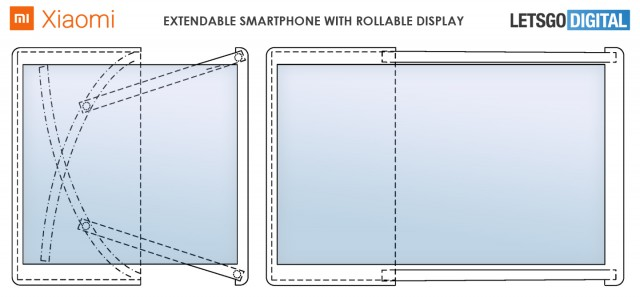 Xiaomi rollable smartphone patent sketch