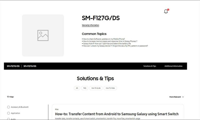 Samsung Galaxy F12 support page