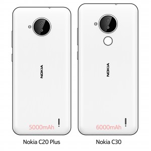 Nokia C20 Plus and Nokia C30 drawings showing 5,000 mAh and 6,000 mAh batteries, respectively