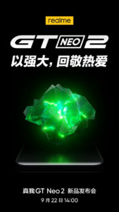 Realme GT Neo2 officially arriving on September 22